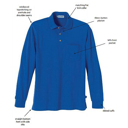 Ash City: Men's Long Sleeve Pique Polo w/Pocket