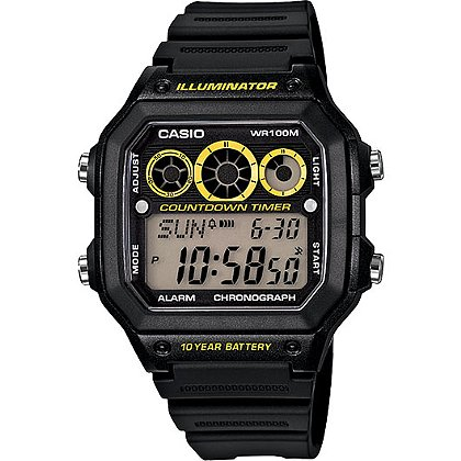 Casio Digital Sports Watch Black/Yellow Face, Preset Timer