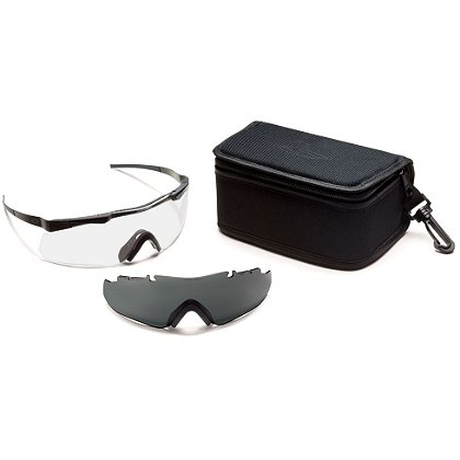 Smith Optics Aegis ARC Echo Eyeshield Field Kit, Black Frame/Clear Lens, Gray Spare Lens
