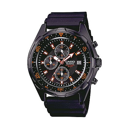 Casio: Dive Chronograph 100M WR Black IP Case