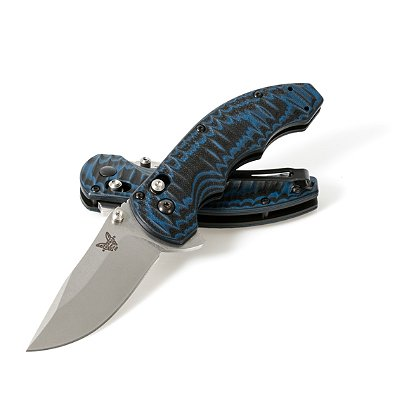 Benchmade: Axis Flipper, Plain Edge, Textured & Contoured Black/Blue G10 Handle