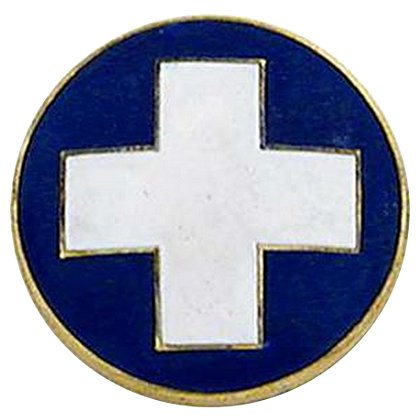 Smith & Warren White Cross Round Collar Insignia, Blue Enamel