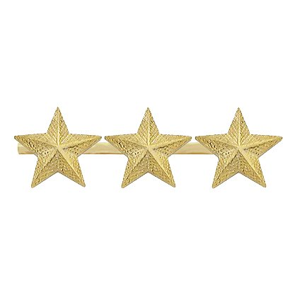 Smith & Warren: Three Textured Collar Stars on Bar, 1.95