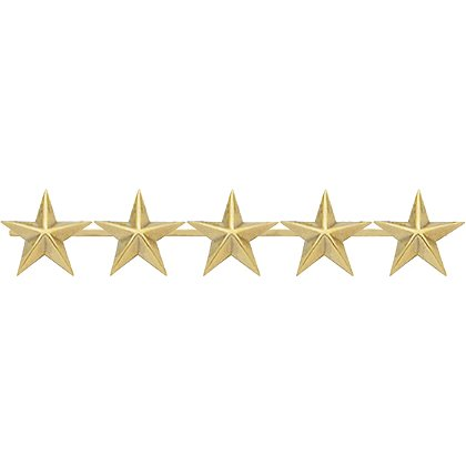 Smith & Warren: Five Collar Stars on Bar, 2.25