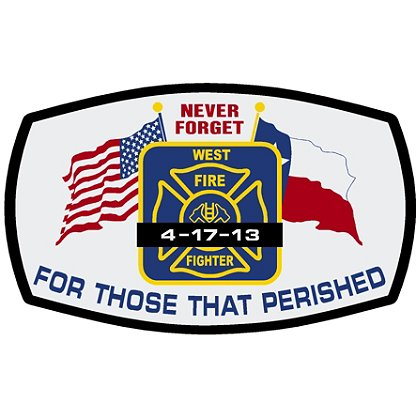 TheFireStore Never Forget, Texas West Fire Tragedy Decal