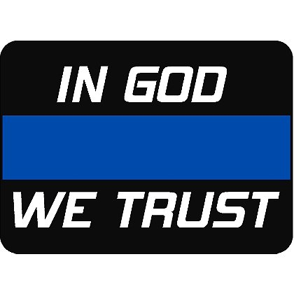 Exclusive In God We Trust Thin Blue Line Reflective Decal