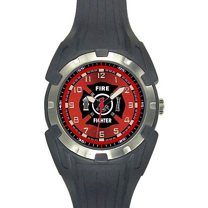 Aquaforce: 56Y, Black and Red Analog Firefighter's Watch