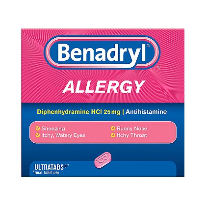 Johnson & Johnson Benadryl Ultra Tabs, 25mg, 100/Bottle