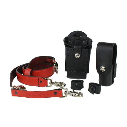 Boston Leather: TheFireStore Exclusive Grand Slam Red Leather Radio Strap Combo Kit