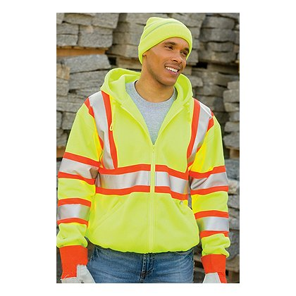 Game Sportswear Hi-Vis Full Zip Hoodie, Neon Lime