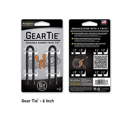 Nite Ize Gear Tie Reusable Rubber Twist Tie, 2-Pack