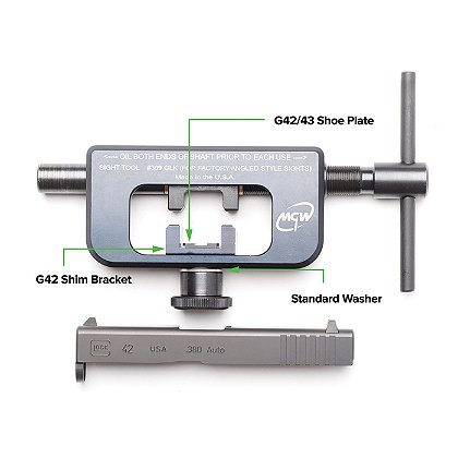 AmeriGlo: Glock 42 and 43 Adapter Tool for GTool1, GTool2, and MGW Night Sight Installation Tool Kit