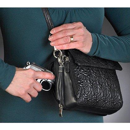 GTM Concealed Carry Embroidered Rose Handbag
