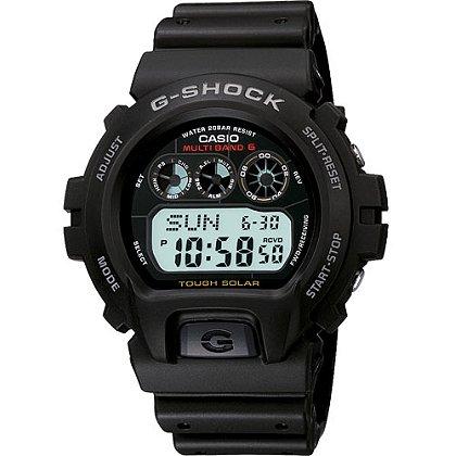 Casio G-Shock Digital Watch Atomic/Solar Powered, Black/White Accents