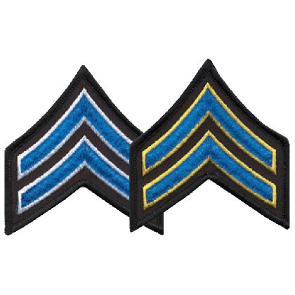 Hero's Pride Corporal Chevron, 1 pair with Merrowed Edges on Black Border