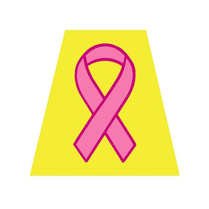 Decal Helmet Tetrahedron, Yellow with Pink Breast Cancer Awareness Ribbon