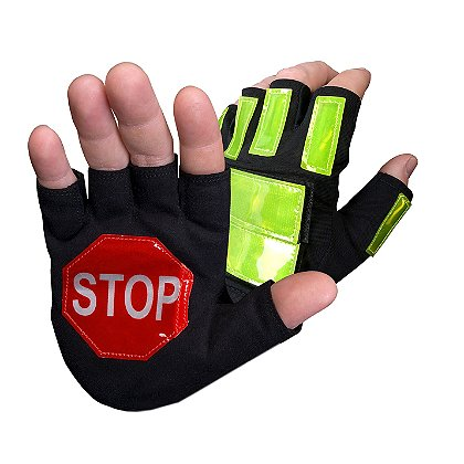 Brite Strike Traffic Safety Reflective Gloves with Active Illumination LEDs, Fingerless