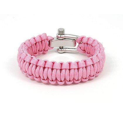 Survival Straps: Paracord Survival Bracelet, Slim Width Pink