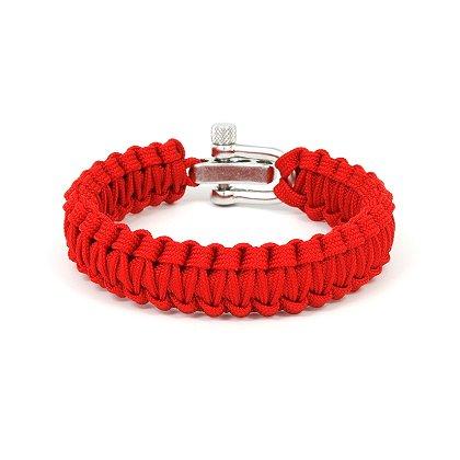 Survival Straps: Paracord Survival Bracelet, Light Duty Fish Tail, Red
