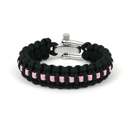 Survival Straps Paracord Survival Bracelet, Slim Width, Pink Line