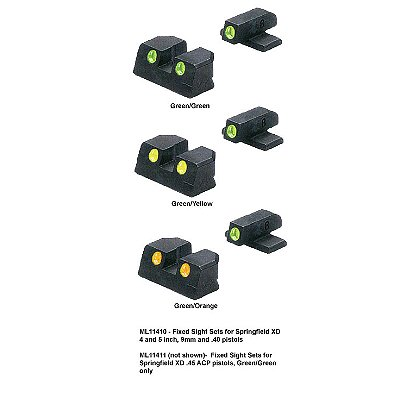 Meprolight Springfield, TRU-DOT Fixed Night Sight Sets for XD 4 and 5 inch, 9mm, .40, and .45 ACP