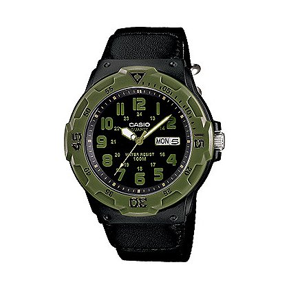 Casio Analog Field Watch Military Version Black/Green bezel