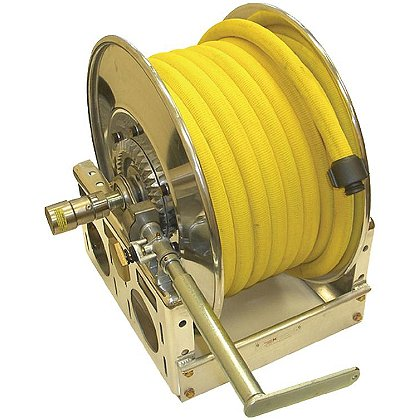 Mercedes Textiles Yellow Boost Lite Permatek Treated Reel Hose with Aluminum Couplings