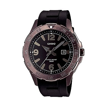 Casio Analog Dive Watch Sweep Second Brown IP Stainless Case, Numbers/Sticks