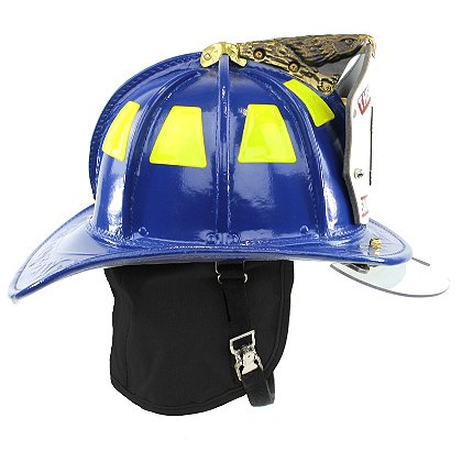 Cairns N5A New Yorker Blue Leather Helmet, Bourke Eyeshield, OSHA