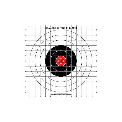 National Target: 100 Yard Rifle Sighting Target with Red Center