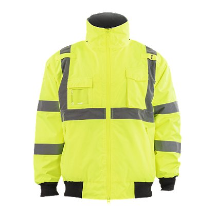Petra Roc: Lime Waterproof Bomber Jacket with Removable Liner, ANSI/ISEA 107-2010 Class 3