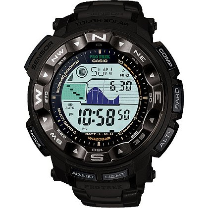 Casio Pro Trek Solar Atomic Watch, Digital/Analog, Compass, Altimeter, Barometer, Black