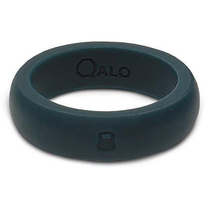 QALO Women's Outdoors Slate Grey Silicone Ring with Engraved Kettleball