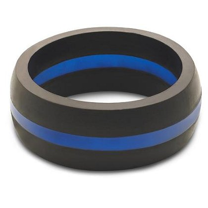 QALO Men's Thin Blue Line Silicone Ring