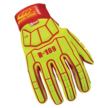 Ringers Cut5 Impact Compliant Glove with Hook & Loop Cuff, Hi-Vis Yellow with Red Palm