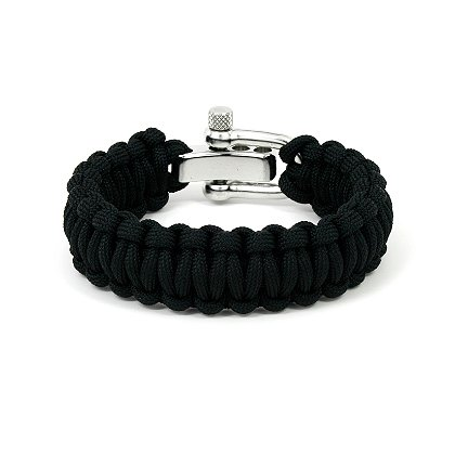 Survival Straps: Paracord Survival Bracelet, Black