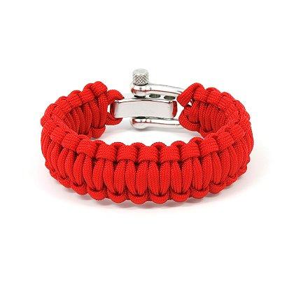 Survival Straps: Paracord Survival Bracelet, Red