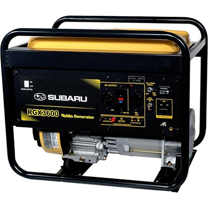Subaru RGX3600 Industrial Generator, Recoil Start, 120/240V, 12V DC Charger, 8.4 Hour Run Time