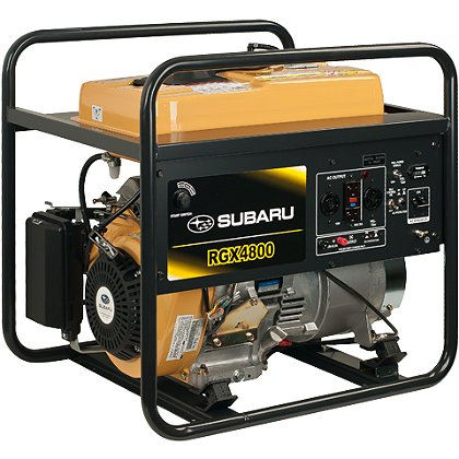 Subaru RGX4800 Industrial Generator, Electric Start w/ Recoil Backup, 120/240V, 12V DC Charger, 6 Hour Run Time