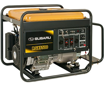 Subaru RGX6500 Industrial Generator, Electric Start w/ Recoil Backup, 120/240V, 12V DC Charger, 8.3 Hour Run Time