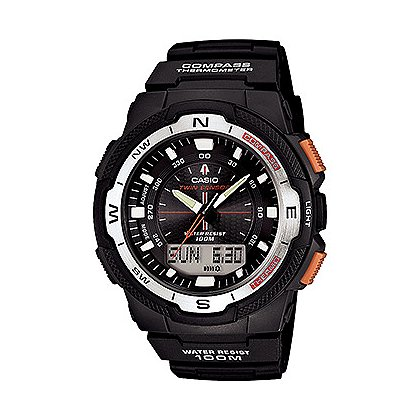 Casio:  Twin Sensor, Digital Compass Thermometer, Black/Silver Face