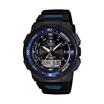 Casio Twin Sensor, Digital Compass Thermometer, Black/Blue Face