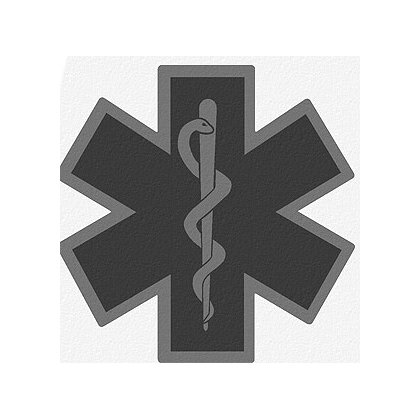 Decal Star of Life Black Reflective