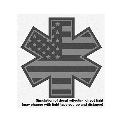 Decal: Flag Star of Life Black Reflective 2