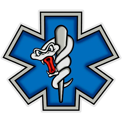 Decal: Star Of Life with Angry Cartoon Snake Caduceus, Blue