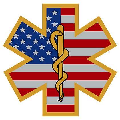 Decal Star Of Life USA Flag with Gold Board Border