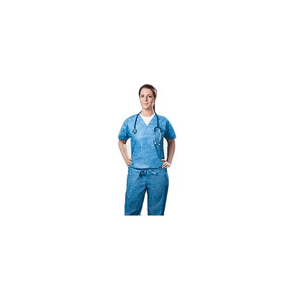 Tronex SMS Disposable Scrub V-Neck Shirt with Pocket, Blue