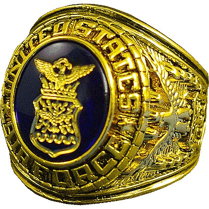 Son Sales: Air Force Ring, 18k Gold Electroplate with Austrian Crystal Stone with 18K Gold Logo Etched into Stone