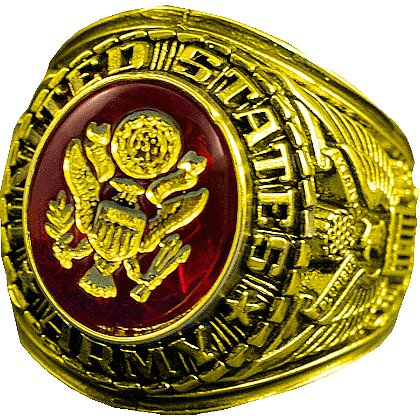 Son Sales: Army Ring 18k Gold Electroplate with Austrian Crystal Stone with 18K Gold Logo Etched into Stone, Style # 10