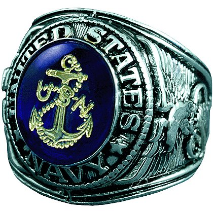 Son Sales: Navy Ring, Rhodium Finish with Sapphire Austrian Crystal Stone with 18K Gold Logo Etched into Stone, Style # 15